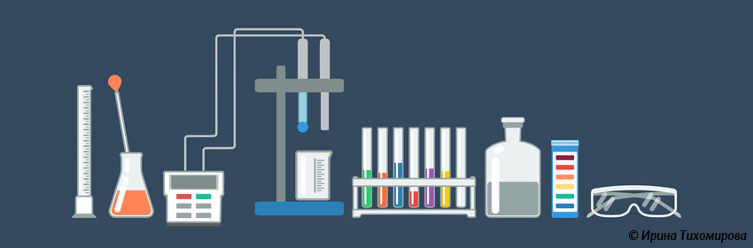 Sketch of showing measuring cylinder, pH meter, test tubes, litmus paper and goggles.