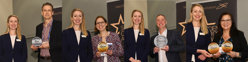 Four Seal of Quality winners being presented their trophies by SelectScience Editor-in-Chief Kerry Parker