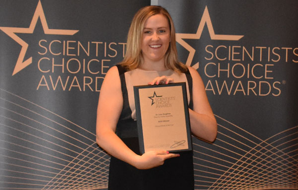 Lara Silver receives award on behalf of Thermo Fisher Scientific