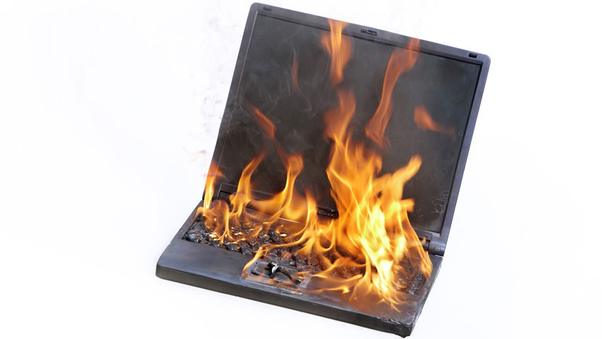a lithium ion battery in a laptop on fire