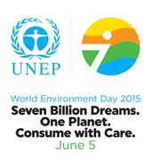 United Nations Environment Programme (UNEP) logo and World Environment Day 2015