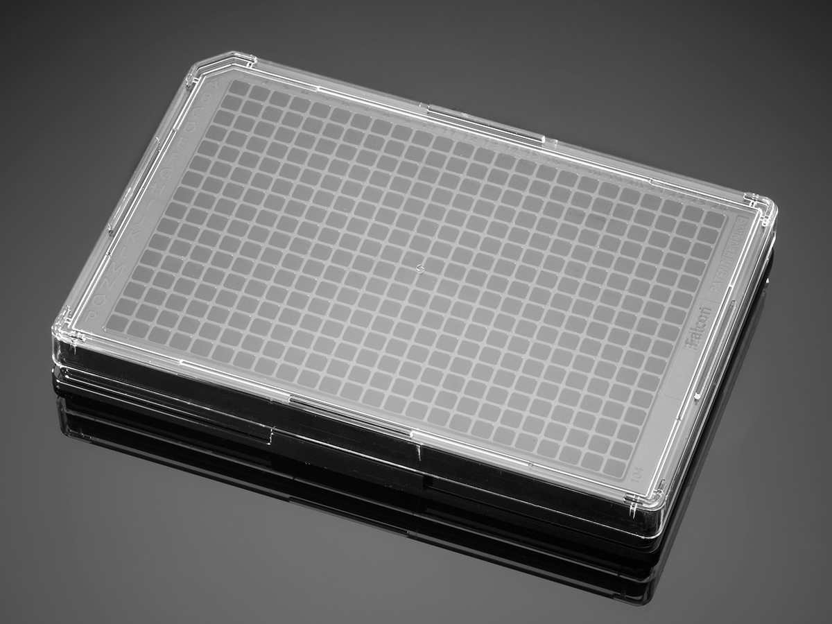 Falcon® 384-well Optilux Black/Clear Flat Bottom, TC-treated Microtest Microplate, with Lid, Sterile, 5/Pack, 50/Case by Corning Life Sciences thumbnail