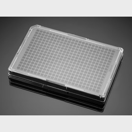Falcon® 384-well Optilux Black/Clear Flat Bottom, TC-treated Microtest Microplate, with Lid, Sterile, 5/Pack, 50/Case by Corning Life Sciences product image