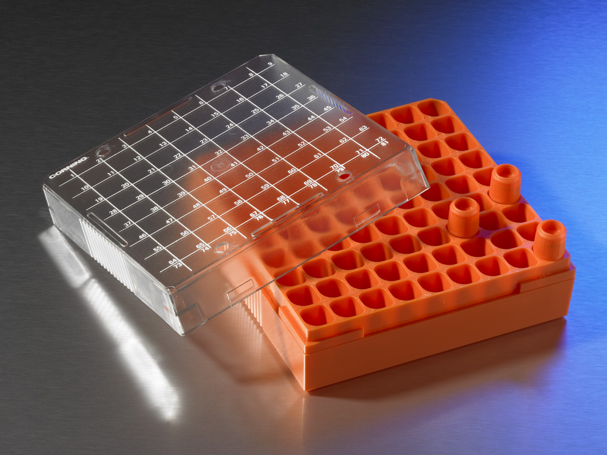 Corning® Polycarbonate 1 - 2 mL Cryogenic Vial Storage Box, Holds 81 Vials by Corning Life Sciences thumbnail