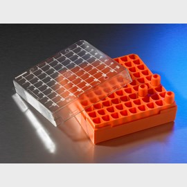 Corning® Polycarbonate 1 - 2 mL Cryogenic Vial Storage Box, Holds 81 Vials by Corning Life Sciences product image