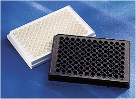 Corning® 96 Well Black Flat Bottom Polystyrene High Bind Microplate, 25 per Bag, without Lid, Nonsterile by Corning Life Sciences thumbnail