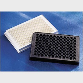 Corning® 96 Well Black Flat Bottom Polystyrene High Bind Microplate, 25 per Bag, without Lid, Nonsterile by Corning Life Sciences product image