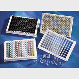 Corning® 96-well Black Polystyrene High Bind Stripwell™ Microplate, 25 per Bag, without Lid, Nonsterile by Corning Life Sciences product image